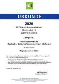 PRZ-IGZ-Mitgliedsurkunde